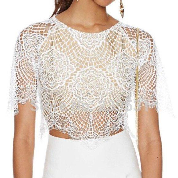 Choies Eyelash Lace Crop Top